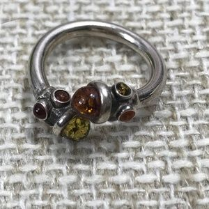 Sterling Silver Honey & Green Amber Wrap Ring Sz10